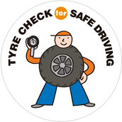 Illust:TYRE CHECK for SAFE DRIVING